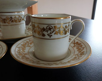 Five Limoges Demi Tasse Coffee Cups by A. Lanternier and Co. Limoges coffee cups circa 1920.