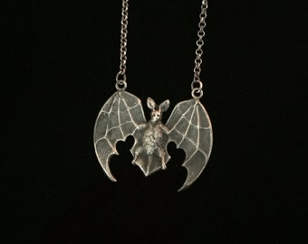 antique french bat amulet necklace