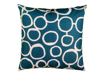 Teal Pillow Cover with Optional Polyester or Feather Insert