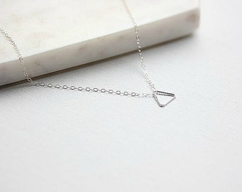 Sterling Silver Triangle Necklace - TRIANGLE Necklace - Geometric necklace - Triangle jewelry - Delicate necklace - Minimalist Jewelry