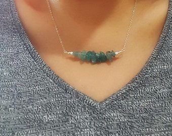 Natural Raw Apatite necklace-Apatite bar necklace in Sterling silver-Green Bar Necklace-Apatite Jewelry-Green Apatite-Gift for Her