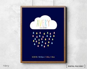 Personalised Birth Print Baby Wall Birth Announcement - Name Art - New Baby Wall Decor - Baby Nursery Decor Wall Art boy- DIGITAL FILE