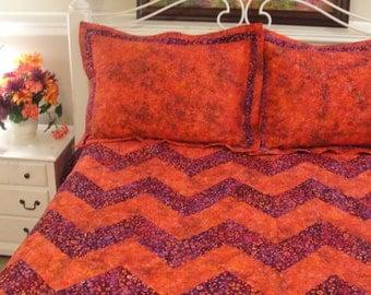 Handmade Quilt Ensemble,  Queen-King quilt with Pillow Shams, Chevron Quilt Ensemble