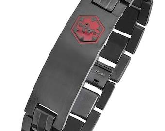 Black Titanium Medical ID Bracelet -  STB910