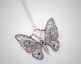 Floral Butterfly Necklace, Silver Filigree Butterfly Charm Pendant, Large Detailed Butterfly, Woodland Everyday Jewellery