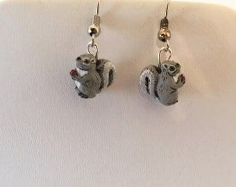 Ceramic Squirrel Pierced  Earrings