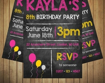Girls Party Birthday Invitation Chalkboard Invite Printable Custom Download Pink Yellow Birthday Invite