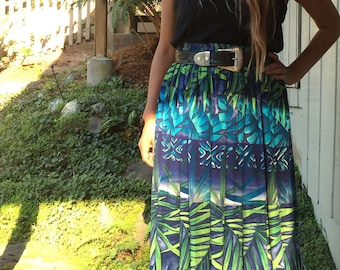 Vintage 90's Hawaiian Palm Leaves Print Maxi Skirt // Tropical Leaves // Comfy