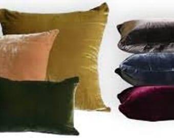 Velvet Decorative Pillow Covers with Zippers. Custom Made Velvet Pillows. Luxurious Velvet Decor Pillow Covers.