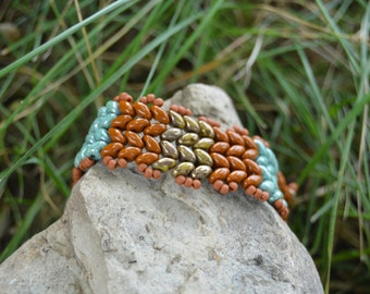 Blue, Green and Brown Herringbone Bracelet