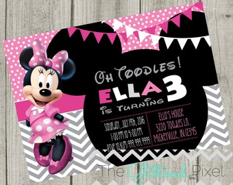 Printable Minnie Mouse Birthday Invitation - Pink, Gray and White Invitation - Minnie Invitation - Disney Invitation