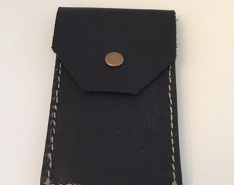 Handmade leather wallet with coin pouch