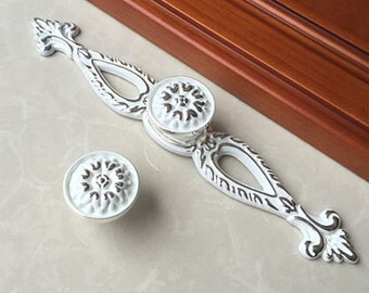 Shabby Chic Drawer Pulls Handles Knob Dresser Knobs Cabinet Door Knobs Back Plate Plates White Silver Decorative Furniture Knob Pull