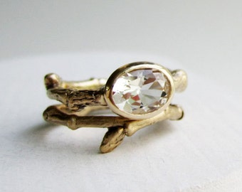 14K Yellow Gold Twig Ring Set, Engagement Rings, Oval white topaz