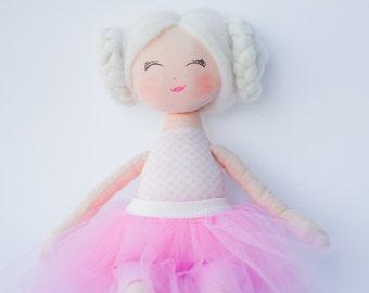 Rag doll, ballerina doll, doll, dolls, cloth doll, handmade doll, pink, white, blonde hair, gift for a girl