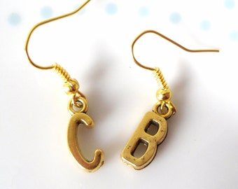 Cute Gold Initial Charm Earrings, Simple, Pretty, Vintage Style, Letter, Personalised, Personalized