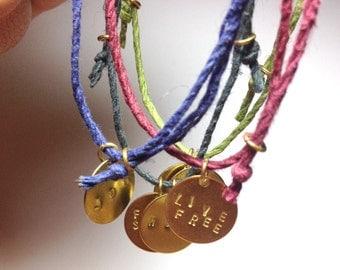 Hippie Hemp Bracelet- Friendship Bracelet Hipster Boho Jewelry Personalized Initial Letter Gift Coachella Festival Big Little Sorority