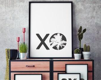 """Poster schwarz weiß, Deko selber machen, Wanddekoration """" xo """" Huggs and Kisses, Bilder füer Schlafzimmer, moderne Bilder, Palmen, Urlaub"""