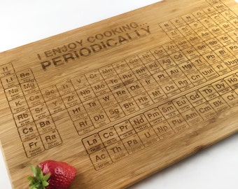 Geek Periodic Table Cutting Board I Enjoy Cooking Periodically Science Gift Laser Engraved Bamboo Chopping Block Wedding Anniversary Gift