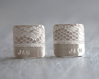 Eco-friendly Personalised Cufflinks - Recycled Sterling Silver Lace Texture Initial Cufflinks - Wedding Cufflinks - Gifts for Men White Lace