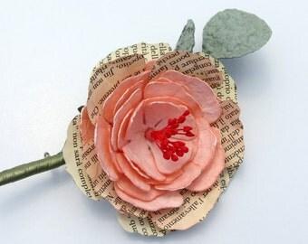 Rosa Bräutigam Boutonniere - Papier Brosche mit Rosa Pfingstrose