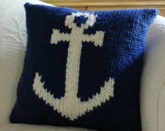 Pillow KNITTING PATTERN / Cushion / Anchor / Nautical / Quick Knit / Super Bulky Yarn / PDF instant download / Two Color Intarsia Knitting