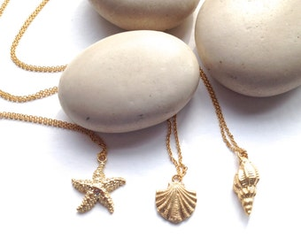 Shell Charm Necklaces - Conch - Sealife Jewellery - Beach Necklaces