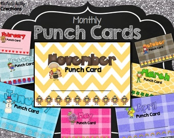 50% OFF SALE Chore Incentive Behavior Homework Punch Cards {Instant Download} Printable - Kids - Children - PDF