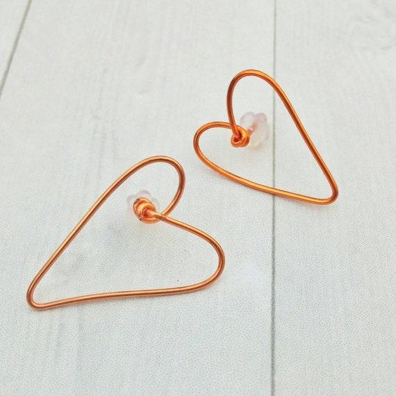 Heart Stud Earrings - copper earrings - post earrings - small post earrings - minimal earrings - minimal modern jewelry