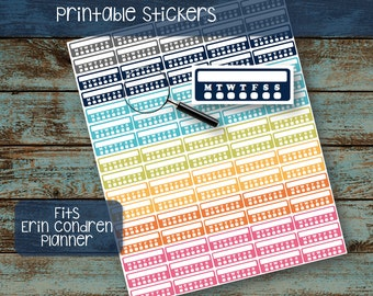 PRINTABLE Midnight Sorbet Daily Tracking Stickers, Erin Condren, Fits Most Planners