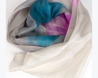 Hand Painted Silk scarf Fuchsia Ice/ Abstract painting on silk/ Grey scarf/ Long scarf in turquoise pink aqua and grey/ Holiday gift for mom
