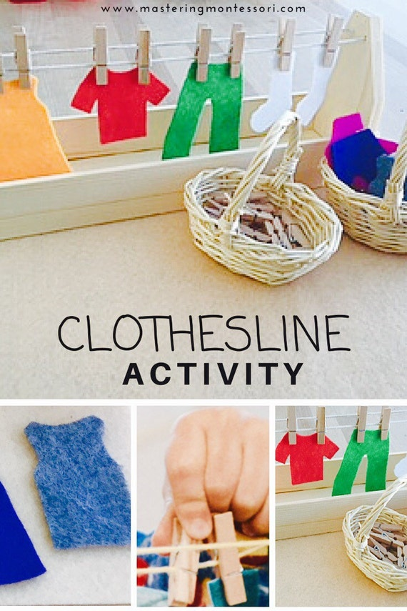 Hand crafted montessori practical life clothesline activity for Fine motor activities for adults