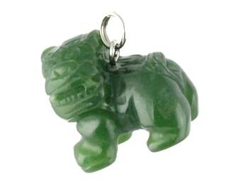 Canadian Jade Foo Dog Charm - 17mm - Green Jade - Natural Jade