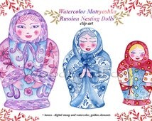 Watercolor Matryoshka  Russian Nesting Doll Hand Painted Clip Art Matryoshka Doll Instant Download Personal or Commercial Use Digital Stamp