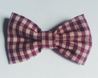Maroon Plaid Dot Bow Tie - Baby // Toddler // Child - Clip On