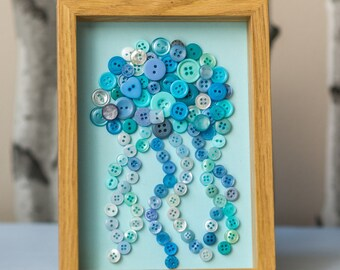 Button Jellyfish Wall Art, Nautical Room Decor, Child's Room Decor, Under the Sea theme, Upcycled Buttons
