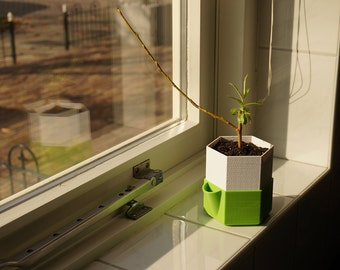 Indoor planter with easy to empty reservoir 3D printed for your Bonsai, vegetables, seeds, microgreens or other plants
