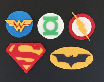 12 Justice League Superhero Inspired Cupcake Toppers-Fondant