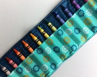 Crayon Roll Crayon Holder - Stocking Stuffer / Toddler Toy or Toddler Gift / Blue / Travel Toy