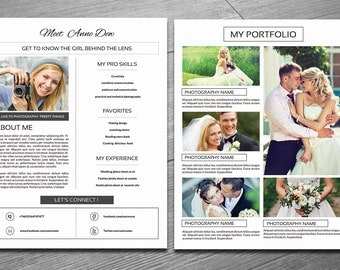 About Me Page Template | Professional Photographer About me page and Portfolio | Photo marketing and branding | Instant Download