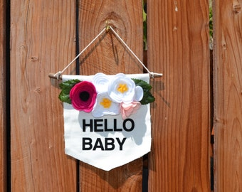 SALE! HELLO BABY Baby Room Wall Hanging in pink