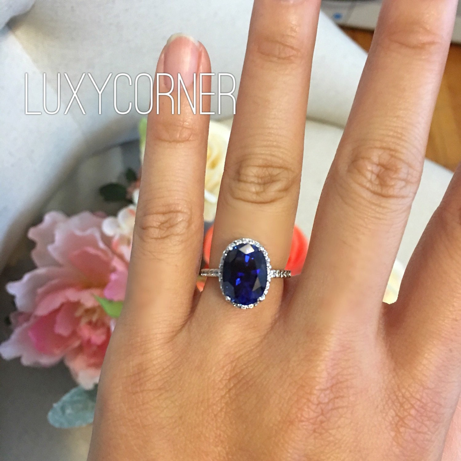 Oval halo engagement ring oval sapphire wedding ring promise