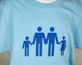 Two Dads Fathers Adult Size Family Blue T-Shirt Hand Screen Printed Gay Love Makes a Family Universal Male Icon Same Sex Marriage LGBTQ