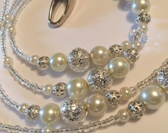 Beautiful glass pearl & silver filigree lanyard - Choice of colour of glass pearls