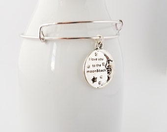 I love you to the moon and back  silver plated bangle bracelet, love, inspirational, hope