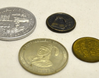 Vintage Commemorative Coins/ Tokens Lot of 4 Greek Tetradrachm Eagle 1960 Alabama Sequecentennial AAA 75th Annual New Orleans