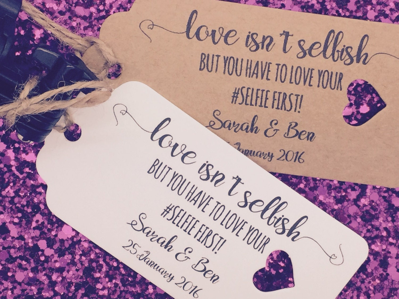 selfie stick instructions gift tag wedding favour guest label. Black Bedroom Furniture Sets. Home Design Ideas