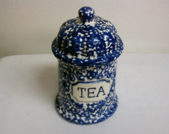 Beautiful Blue and White Ceramic Tea canister. Rubber gasket/seal is still soft, pliable and clean