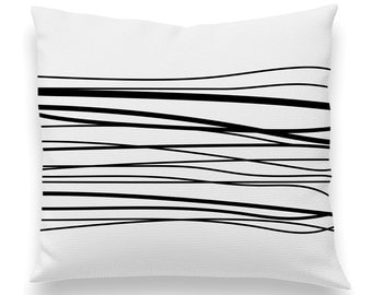 Organic Flowing Wavy Lines Pillow White and Black