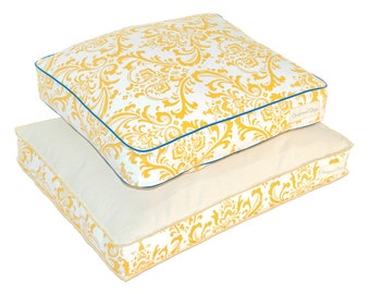 Yellow & Blue Dog Bed COVER | Designer Dog Beds | Unique Pet Bed | washable slipcover | Fashionable Pet Beds for a Dog or Cat | S M L